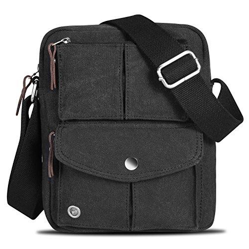 7e527dcd3c7 Catmacas Small Vintage Durable Multi-pocket Canvas Shoulder Ipad Messenger  Bag Satchel Crossbody Sling Bag Fanny Bag for Men and Women Black